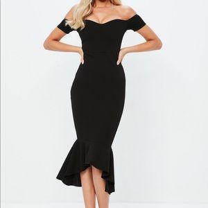 Black Fishtail Midi Dress NWT